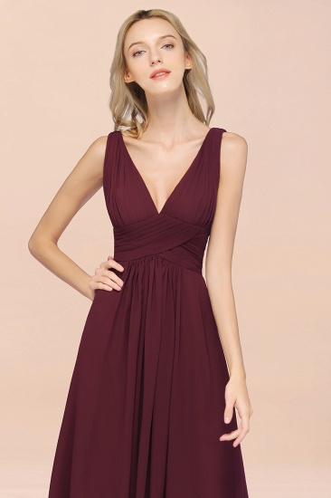 BMbridal Elegant V-Neck Burgundy Chiffon Affordable Bridesmaid Dress with Ruffle_57