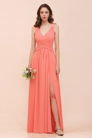 Glamorous V-Neck Ruffle Chiffon Long Bridesmaid Dress With Slit