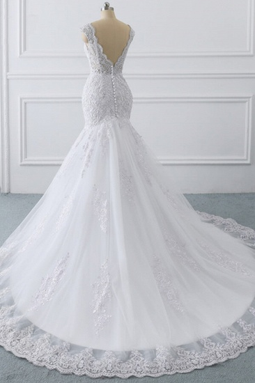 BMbridal Gorgeous V-neck Sleeveless Mermaid Wedding Dress Lace White Bridal Gowns On Sale_5