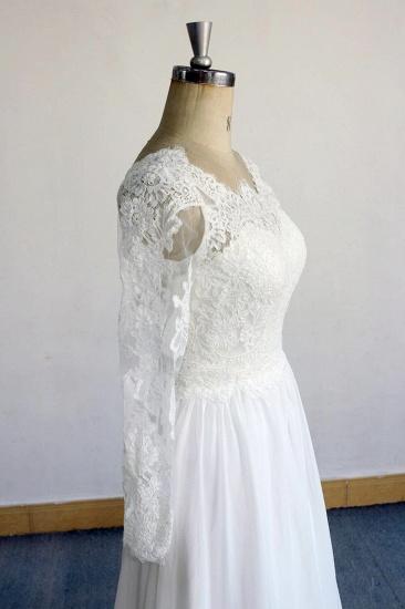 BMbridal Elegant Longsleeves Appliques Lace Wedding Dress White Chiffon A-line Bridal Gowns On Sale_4