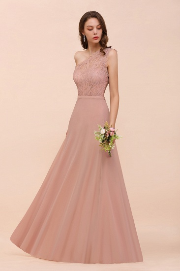 New Arrival Dusty Rose One Shoulder Lace Long Bridesmaid Dress_53