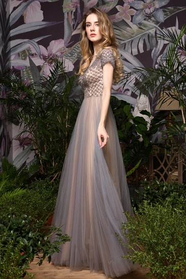 Glamorous Short Sleeve Tulle Prom Dress Long Evening Party Gowns Online_10