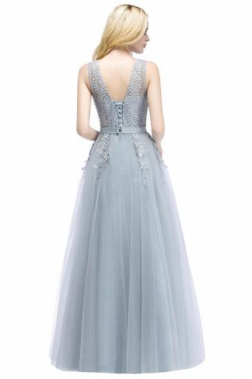 BMbridal Stylish V-neck Tulle Lace Long Evening Dress_3