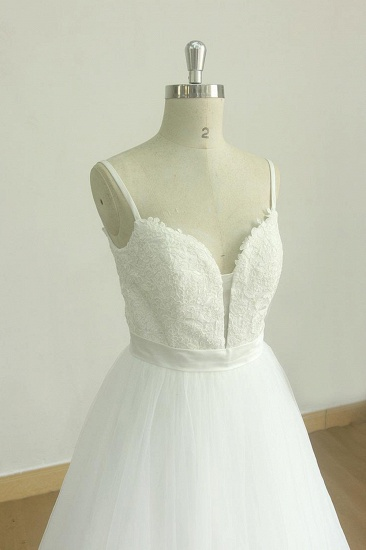 Chic Spaghetti Straps V-Neck Wedding Dresses White Tulle Appliques Bridal Gowns Online_4