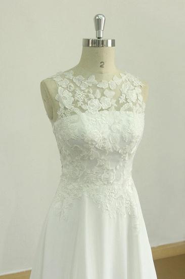 BMbridal Glamorous Jewel Sleeveless Appliques Wedding Dress Lace White Chiffon Bridal Gowns On Sale_4