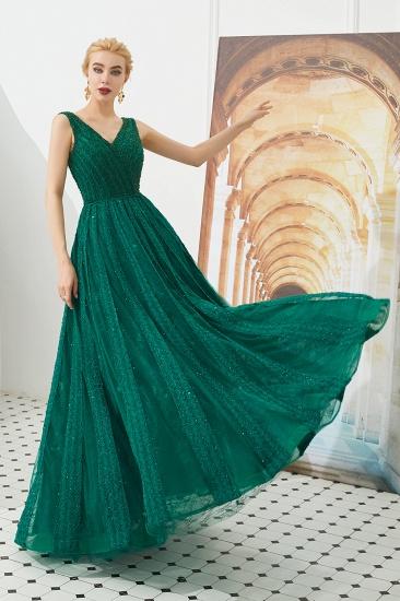 Glamorous Green V-Neck Sleeveless Prom Dress Long With Beadings Online_8