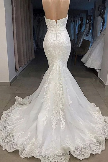 BMbridal Sexy Sweetheart Off-the-shoulder White Wedding Dresses Mermaid Lace Bridal Gowns With Appliques Online_4