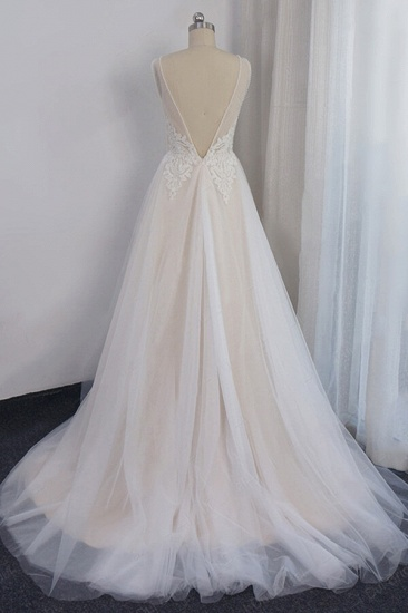 Glamorous V-neck Straps Sleeveless Wedding Dress Appliques Tulle A-line Bridal Gowns On Sale_3