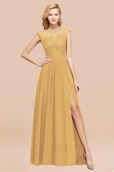 Affordable Scoop Lace Appliques Yellow Bridesmaid Dresses with Slit_13