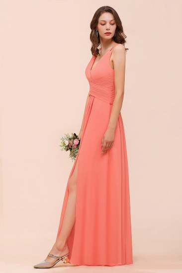 Glamorous V-Neck Ruffle Chiffon Long Bridesmaid Dress With Slit_7