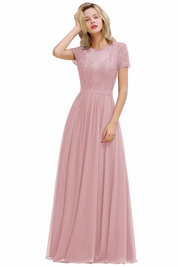 BMbridal Chic A-line Chiffon Lace Bridesmaid Dress with Short Sleeves_2