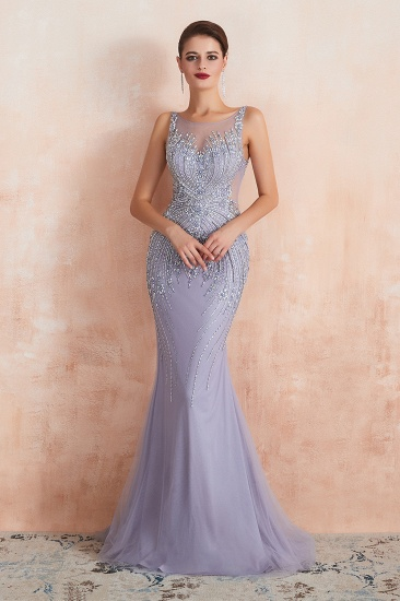 Luxurious Lilac Crystal Prom Dress Mermaid Long Evening Gowns_8
