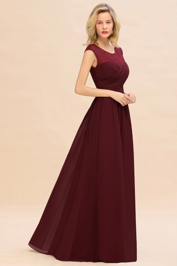BMbridal Modest Burgundy Chiffon Sleeveless Ruffle Bridesmaid Dress Affordable_5