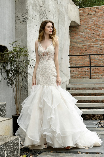 Elegant Mermaid Tulle Lace White Wedding Dresses with Appliques_9