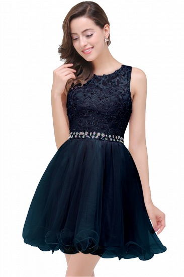 BMbridal A-line Knee-length Tulle Prom Dress with Appliques_4