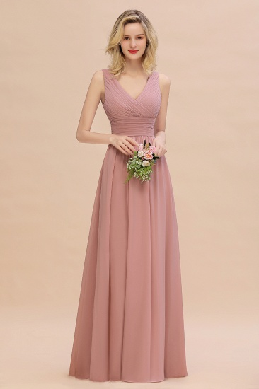 Elegant V-Neck Dusty Rose Chiffon Bridesmaid Dress with Ruffle_50