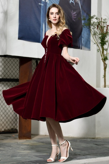 Vintage Bugrundy Short Sleeve Prom Dress Tea-Length Party Gowns With Lace-up_8