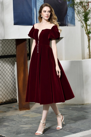 Vintage Bugrundy Short Sleeve Prom Dress Tea-Length Party Gowns With Lace-up_4