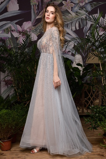 Luxurious Tulle Crystals Long Prom Dress Online With Ruffle Sleeves_19