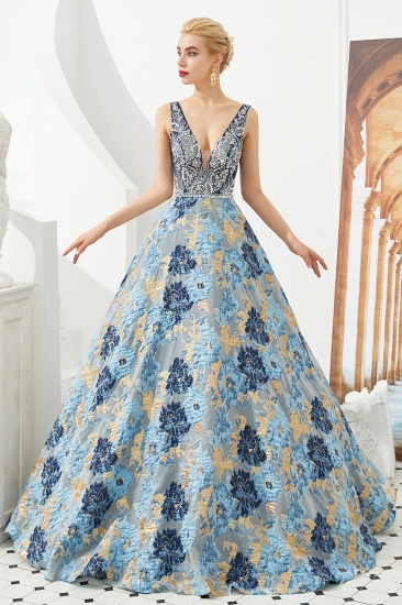 BMbridal Glamorous V-Neck Sleeveless Print Prom Dress Long Beadings Evening Gowns_6