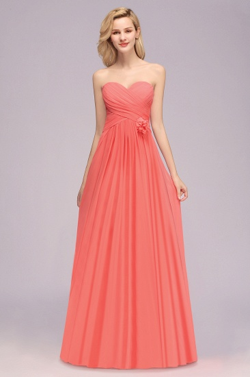 Affordable Sweetheart Strapless Chiffon Bridesmaid Dress with Flower_1