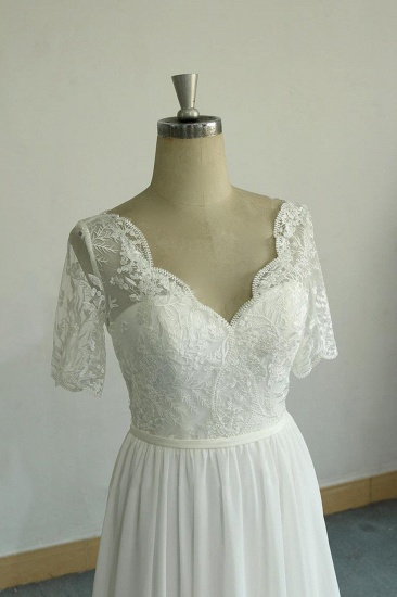 BMbridal Affordable Halfsleeves V-neck Chiffon Wedding Dresses White A-line Ruffles Bridal Gowns Online_5