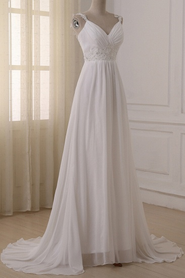BMbridal Stylish Straps V-neck Chiffon Wedding Dress A-line White Appliques Bridal Gowns On Sale_4