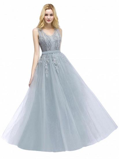 BMbridal Stylish V-neck Tulle Lace Long Evening Dress_1