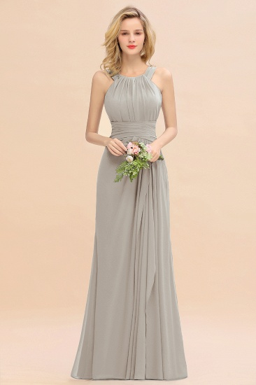 Elegant Round Neck Sleeveless Stormy Bridesmaid Dress with Ruffles_30