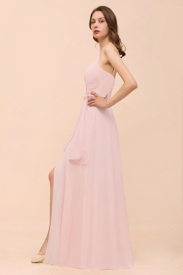 BMbridal Affordable Blushing Pink Spaghetti Straps Ruffle Bridesmaid Dress_9