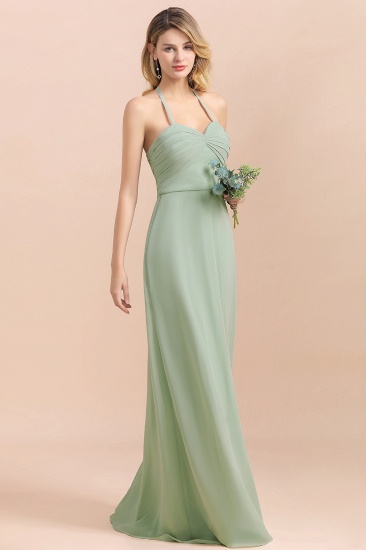 Affordable Halter Sweetheart Chiffon Dusty Sage Bridesmaid Dresses_6