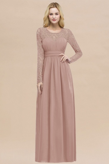 BMbridal Elegant Lace Burgundy Bridesmaid Dresses Online with Long Sleeves_6