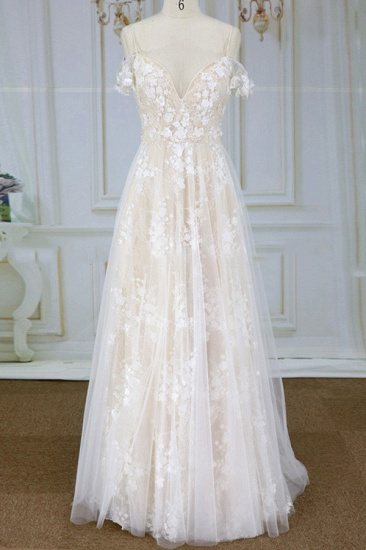 Stylish Spaghetti Straps Off-the-shoulder Appliques Wedding Dresses A-line Tulle Lace Bridal Gowns On Sale_1