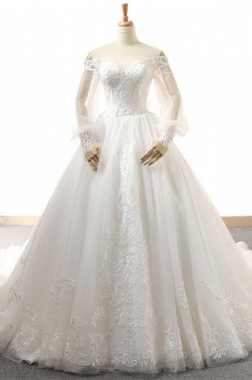 BMbridal Affordable Longsleeves Appliques Tulle Wedding Dresses A-line Lace White Bridal Gowns On Sale_1