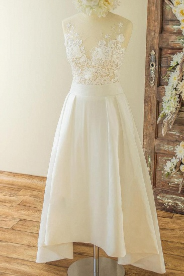 BMbridal Affordable Sleeveless Straps Jewel Wedding Dresses Satin Appliques Lace Bridal Gowns On Sale_1