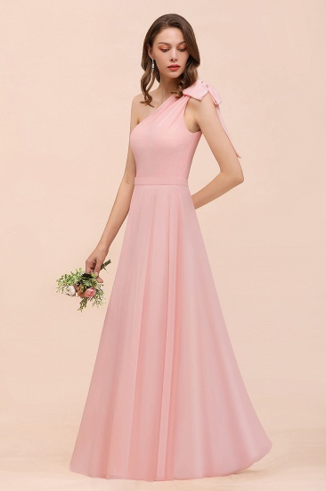 Chic One Shoulder Sleeveless Pink Chiffon Bridesmaid Dress with Bow_7