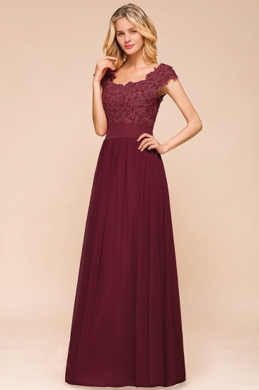 BMbridal Elegant Long Chiffon Prom Dress With Lace Appliques On Sale_7