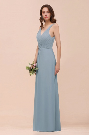 Elegant V-Neck Ruffle Dusty Blue Chiffon Bridesmaid Dresses Online_9