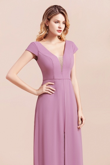 Chic V-Neck Chiffon Wisteria Bridesmaid Dresses with Short Sleeves_9