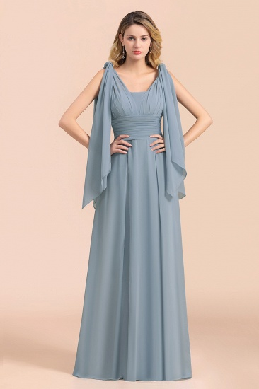 Affordable Dusty Blue Ruffle Convertible Bridemsiad Dress_7