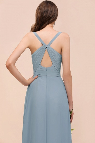 Elegant V-Neck Ruffle Dusty Blue Chiffon Bridesmaid Dresses Online_5