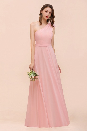 Chic One Shoulder Sleeveless Pink Chiffon Bridesmaid Dress with Bow_6