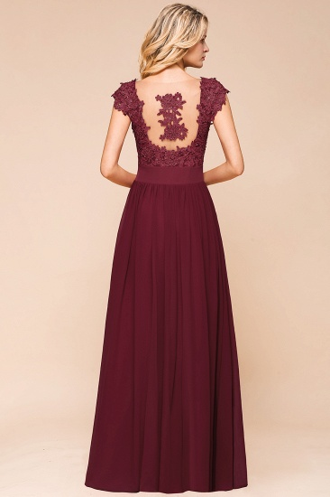 BMbridal Elegant Long Chiffon Prom Dress With Lace Appliques On Sale_10