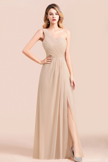 Chic One Shoulder Ruffle Champagne Chiffon Bridesmaid Dress_1
