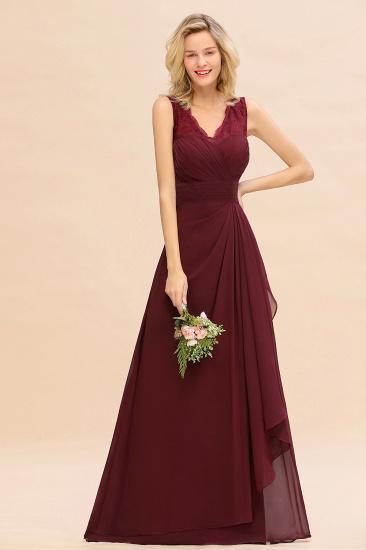 BMbridal Elegant Lace V-Neck Burgundy Chiffon Bridesmaid Dresses with Ruffle_7