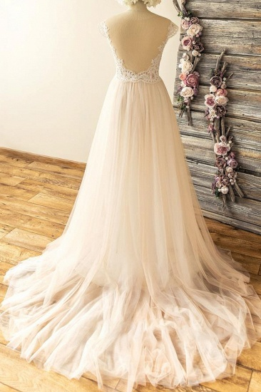 Stylish Off-the-shoulder Jewel Appliques Wedding Dresses A-line Tulle Champagne Bridal Gowns On Sale_3