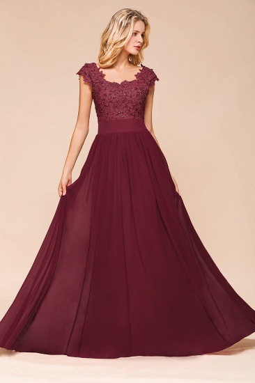 BMbridal Elegant Long Chiffon Prom Dress With Lace Appliques On Sale_9