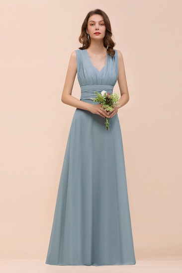 New Arrival Dusty Blue Ruched Long Convertible Bridesmaid Dresses_40