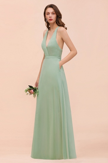 Glamorous Dusty Sage V-Neck Straps Affordable Bridesmaid Dress_4