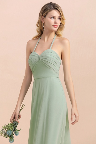 Affordable Halter Sweetheart Chiffon Dusty Sage Bridesmaid Dresses_9